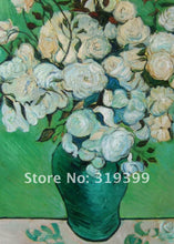 Van Gogh vase of Roses Green Impressionist sharp  images  Art Print Wall Art Accent Home Decor