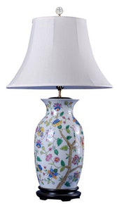 "Vase Shape Hand Painted Chinese Accent Table Top Lamp 17""H Classic Floral Design Home Decor Accent"