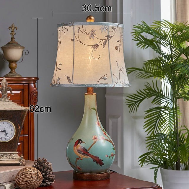 European Accent Lamp Bird and Floral Design Modern Shape Traditional Home Decor Classical