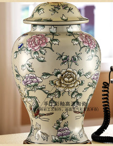 Chinese Ginger Jar Chinese Floral Pattern Design Copper Base Accent Home Decor Traditional Classical
