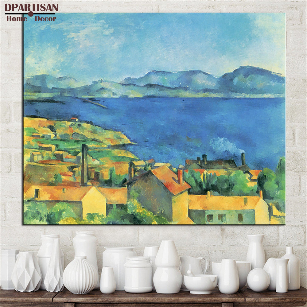 Paul Cezanne Village Lake  Print Poster Accent Home Decor Traditional Landscape Classical