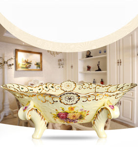 Large Ivory Ceramic Floral Flower Fruit Plate Gold Tone Rim Retro Bowl Accent Home Decor Classical