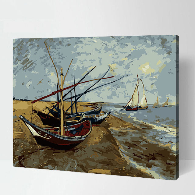 Fishing Boats Beached Sail Boat Landscape Stretched Canvas Art Accent Home Decor Classical