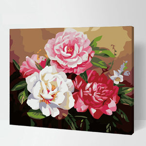 Classical Peonies Flowers Arrangement Pinks Whites Floral Roses Accent Home Decor Wall Art
