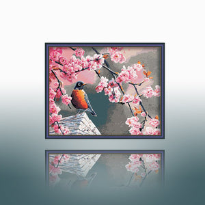 Blooms Pink Flowers Bird Robin Accent Home Decor Poster Traditional Classical Accent Wall Art