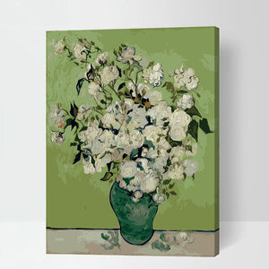 White Floral Rose Flower Vase Stretched Canvas Green Accent Home Decor Print Poster Classical