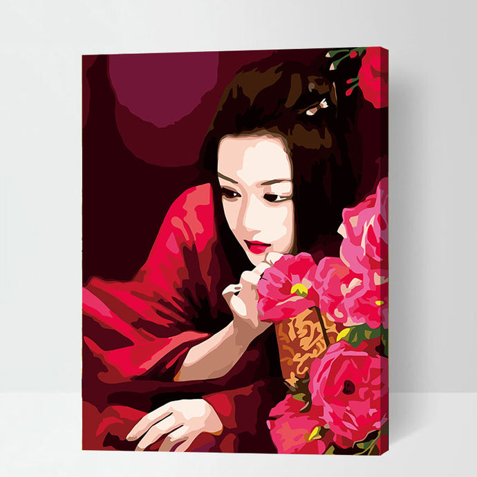 Girl Red Kimono Roses Flower Accent Home Decor Art Print  Paper Classical