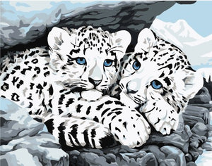 Leopard Cubs Cats Scene Print Poster  Accent Home Decor Traditional Collectable