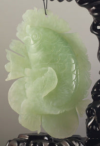 "Chinese Natural Xiuyan Jade Hand Carved Fish Statue Hanging Kirin 6.5""  Prosperity Serenity Accent"