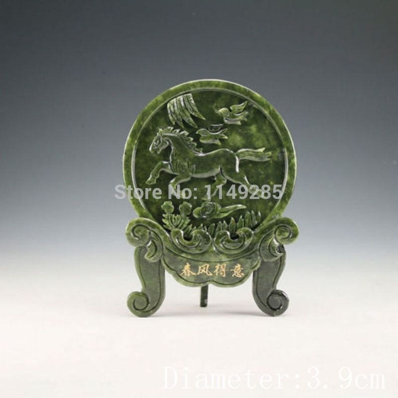 Chinese Natural Jade Handwork Carved Horse Statue Coins Prosperity Serenity Home Decor Accent