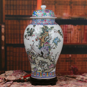 Chinese Ceramic Ginger Jar Vase Temple Jar Chinese  Dragon Accent Home Decor Classical Collectable