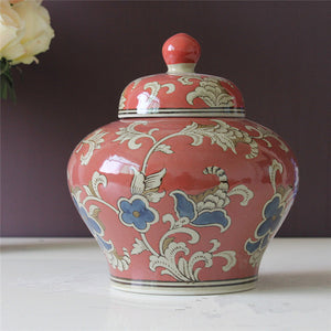 Vase Chinese ceramic ginger jar red temple jar Chinese Floral  Accent Home Decor Classical