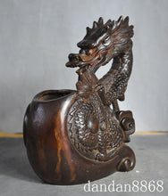 Chinese Bronze Wealth Zodiac Lucky Dragon Feng shui Metal Hammered statue Accent Home Decor