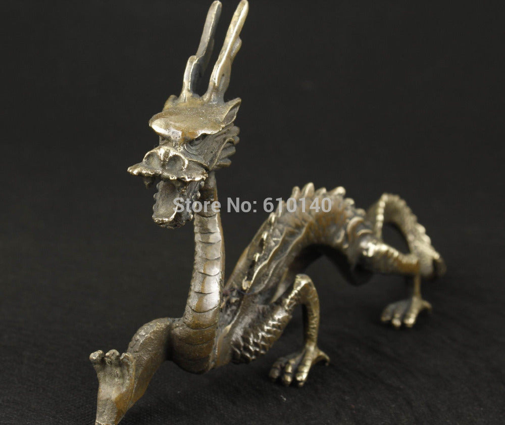 Chinese Lucky Feng shui Brass Bronze Dragon Metal Hammered statue Metal Accent Carving  Home Decor