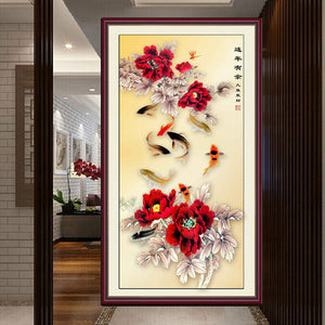 Chinese Inspired Floral Rose Flower Still Life Modern Classical Accent Art Print Wall Art Floral
