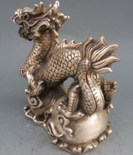 Chinese Silver/Bronze Statue Dragon Lucky Accent Home Decor Traditional Classical Collectable