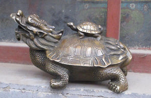 Feng shui  Chinese Bronze statue Dragon Turtle Back Tortoise statue Accent Home Decor Success