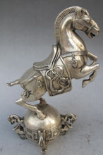 Chinese Silver bronze Horse Statue Accent Home Decor Sculpture Success Good Fortune Classical Luck