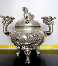 Dragon Kirin bronze incense burner Silver-plated Accent Home Decor Table  Collectable Handmade