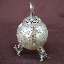 White Bronze Decoration smoked bronze incense burner  Peony Accent Home Decor Table Handmade