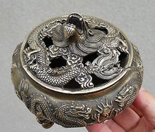 Silver Bronze Dragon Incense Burner  Chinese Handmade Dragons Bronze Carved Accent Home Decor