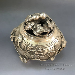 Tibetan Smoked bronze sculpture incense burner Chinese Handmade Dragons Carved Accent Home Decor