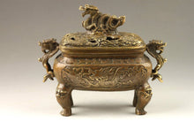 Chinese Handmade Exquisite Dragons Bronze Carved  Incense Burner Accent Home Decor Classical
