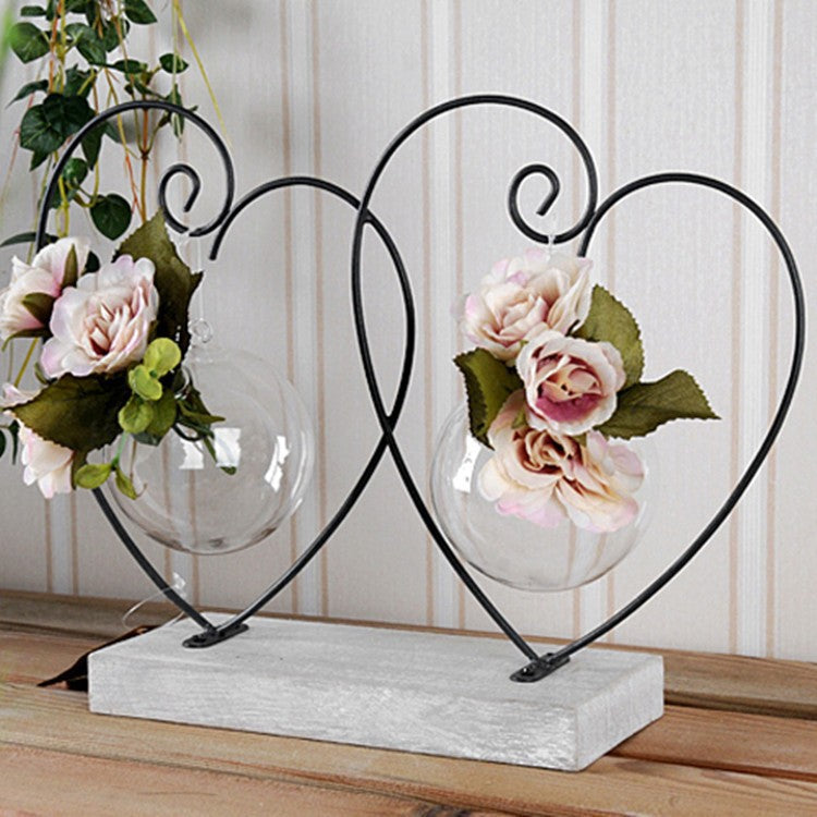 Double Sweet Heart Glass Vase Suspended Black Metal Block Base Valentine  Accent Home Decor Accent