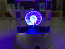 Dandelion Laser Etched Glass 6cm Cube Lighting battery-powered LED lamp Base Accent Home Decor