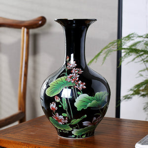 Chinese Style Glaze Lotus Purity Enlightenmentjoy  Ceramic Flower Vases Accent Home DecorB