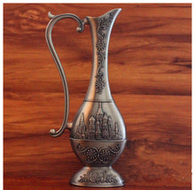 Metal Handcrafted Embossed Hammered Wine Decanter Moroccan Vase Antique Patina  Accent Decor Home
