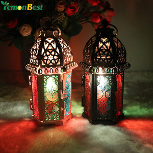 Vintage Moroccan Designed Lanterns Shadows Hollow Candle Holder Lacey Panels Home Decor Accent