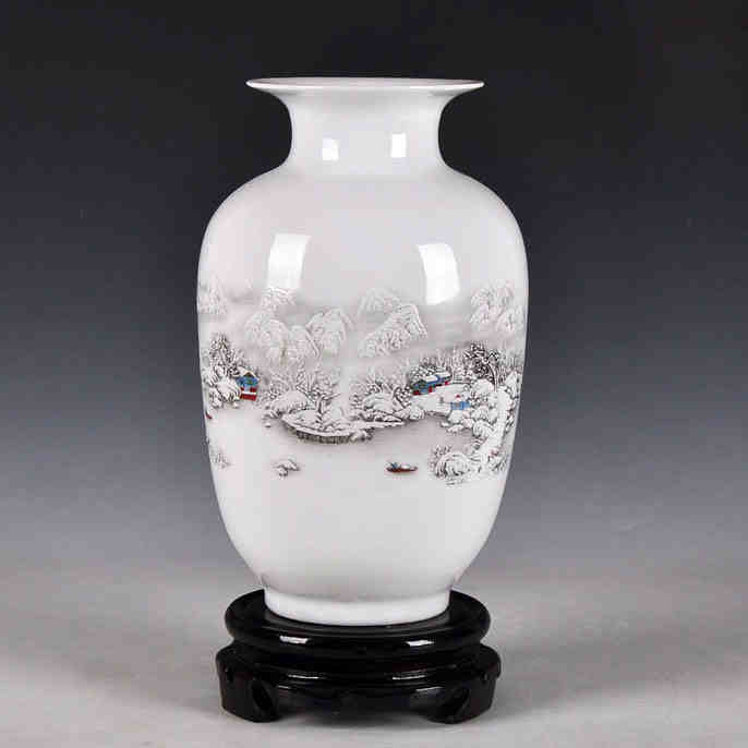 Jingdezhen Ceramic Vases Ancient Style Ceramic Snow Scenery Flower Vase