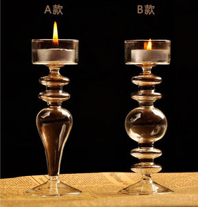 Crystal  Glass Candlestick Candle Holders Romantic candlelight  Dinner Home Decor Accent