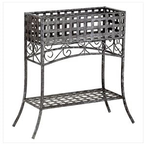 Lawn Elevated Rectangular Metal Planter Stand Black Wrought Iron Table
