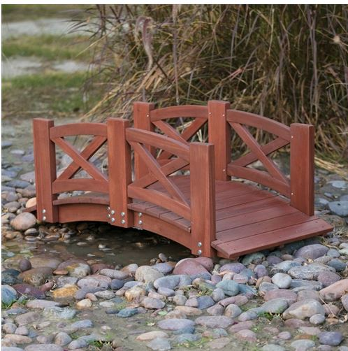 Lawn Yard Red Stained Wood 4-Ft Garden Bridge with X-Design Hand Rails Home Garden Accents