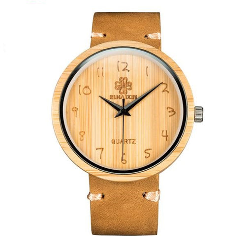 fully bamboo watch with genuine leather strap for him