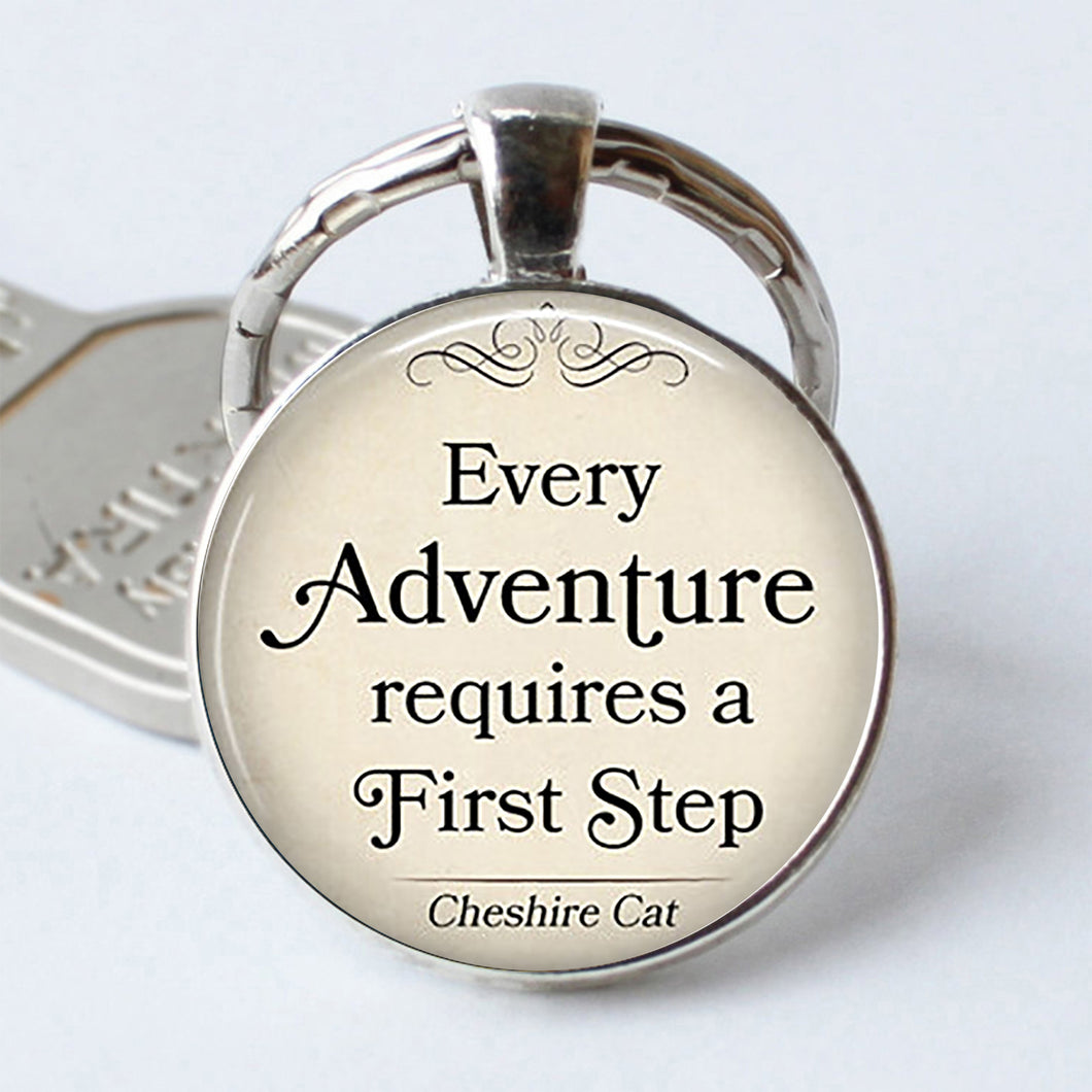 Adventure Cheshire Cat Quote Keychain