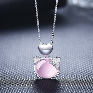 Cat with Bow and Heart Rhinestone and Crystal Sterling Silver Pendant Necklace