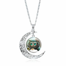 Cheshire Cat Crescent Moon Pendant Necklace