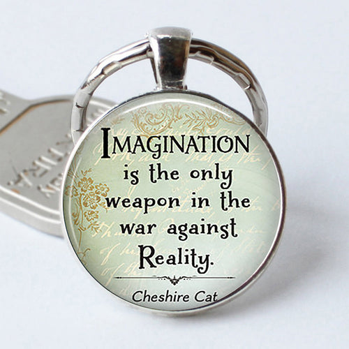 Imagination Cheshire Cat Quote Keychain