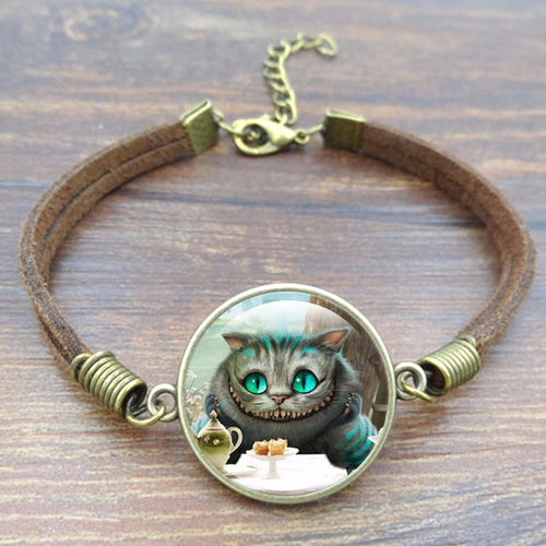 Modern Cheshire Cat Tea Time Suede Bracelet