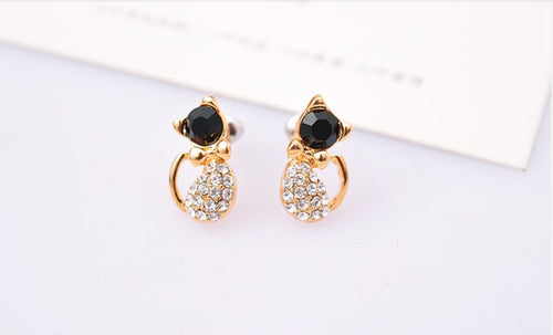 Black and Crystal Cat Earrings