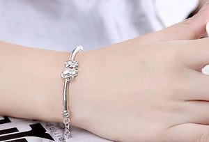 Two Sitting Kitties Silver Plated Bracelet