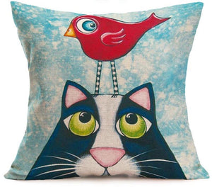 Cute Kitty and Bird Pillowcase