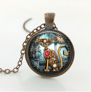 Steampunk Mechanical Cat Copper Necklace
