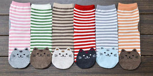 Striped Cat Face Socks