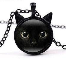 Black Cat Face with Ears Cabochon Necklace