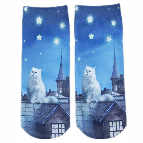 Starry Night Cat on Roof Socks