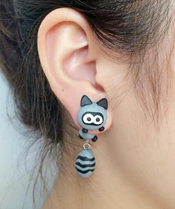 Handmade Cartoon Cat Clay Drop Earrings